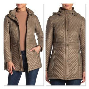 Via Spiga Quilted Hooded Anorak in Sage